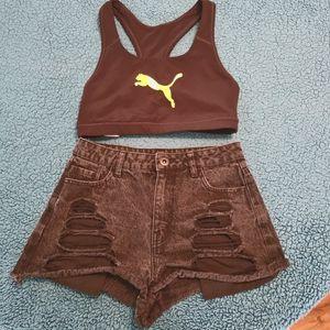 Set Puma Black Tops+Factorie 10 Denim Black Shorts
